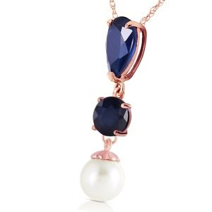 14K. SOLID GOLD NECKLACE WITH SAPPHIRES & PEARL